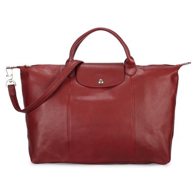 Longchamp Le Pliage Cuir小羊皮短把折疊大型水餃包-暗紅色