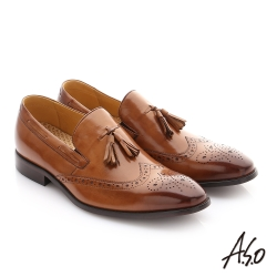 A.S.O 尊榮青紳 牛皮奈米鬆緊帶紳士鞋 茶色
