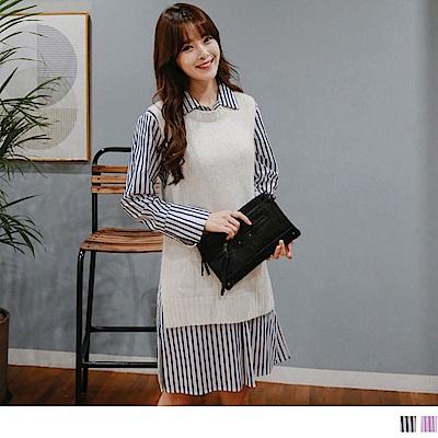 配色直條紋半開襟打摺襯衫領棉感洋裝.2色-OB大尺碼