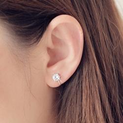 梨花HaNA  無耳洞單顆極簡美鑽閃燦耳環夾式
