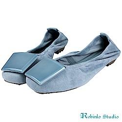 Robinlo Studio 簡約方型飾釦真皮平底豆豆鞋 藍色