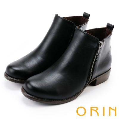 ORIN-經典復古-牛皮雙拉鏈低跟短靴-黑色