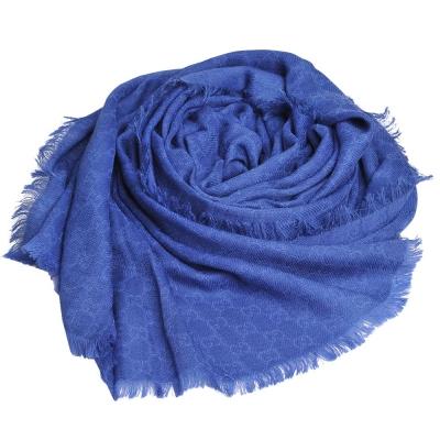 GUCCI ST CAL. 經典GG LOGO羊毛混絲寬版披肩/圍巾(藍/200x70)