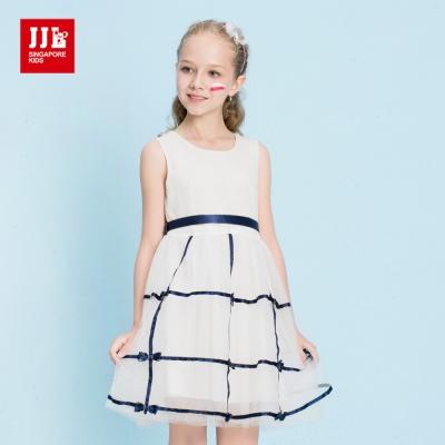 JJLKIDS 氣質蕾絲緞帶蝴蝶結洋裝(藍色)