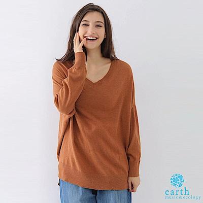 earth music V領長版寬鬆針織上衣