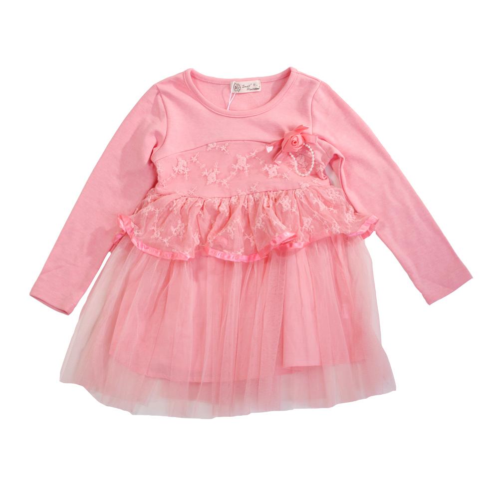魔法Baby 女童長袖蕾絲洋裝 k37081