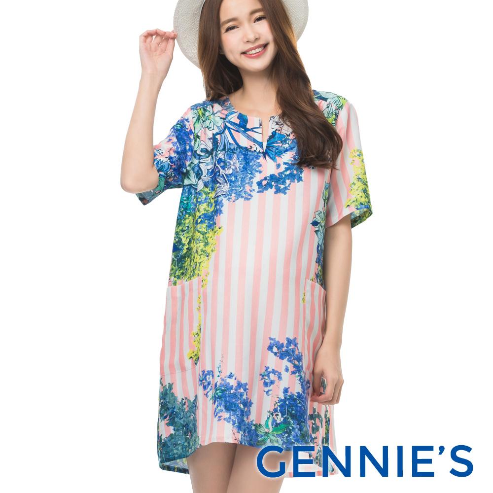 Gennies專櫃-春天浪漫花季長條紋洋裝(T1B04-花色條紋)