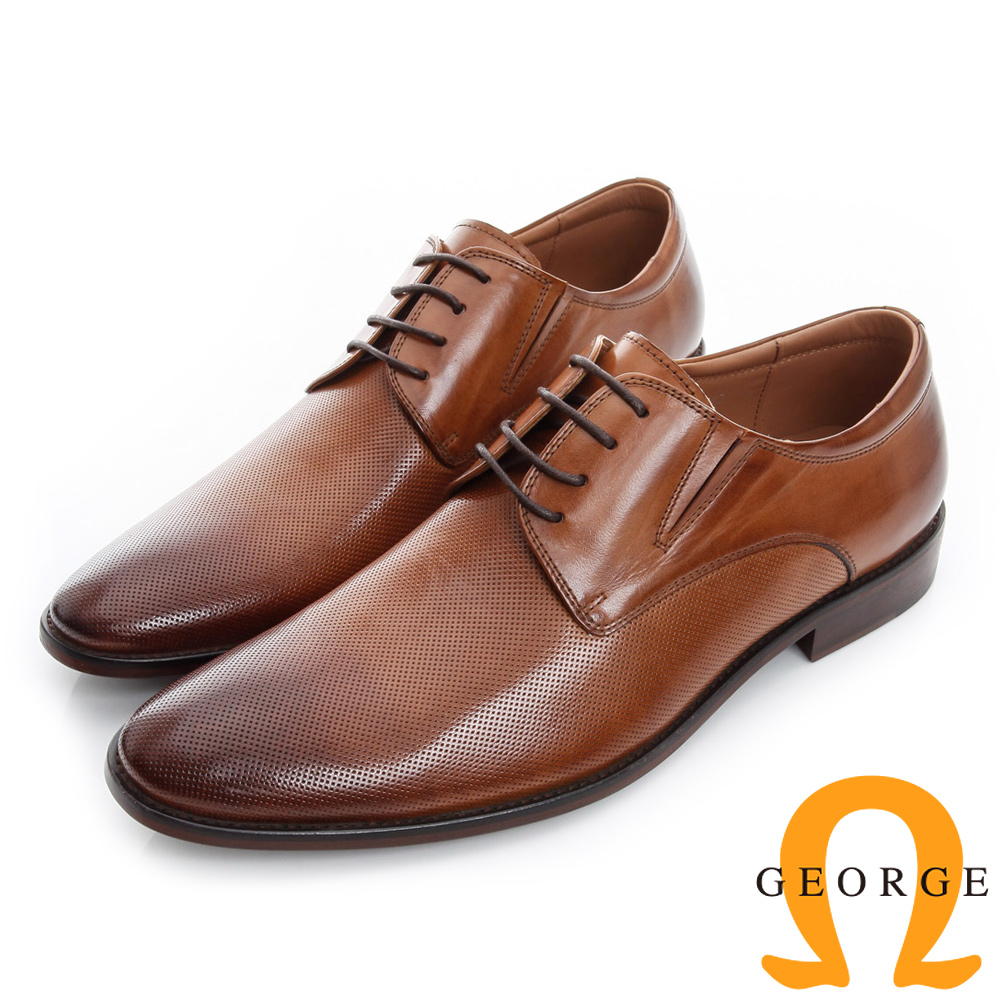 GEORGE 喬治-經典素面真皮底手工德比鞋-棕色