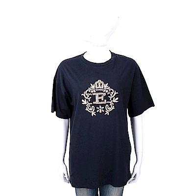ERMANNO SCERVINO 金色繡線鑽花皇冠圖騰深藍純棉T恤
