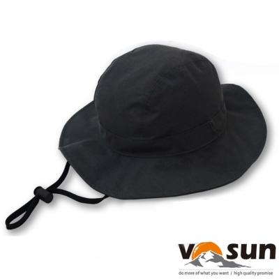 【VOSUN】經典防風防水防曬中盤帽子(帽圍可調)_尊爵黑