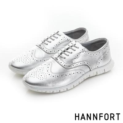 HANNFORT ZERO GRAVITY珠光真皮牛津氣墊鞋-女-時尚銀