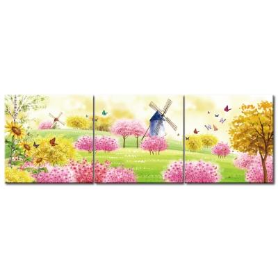 123點點貼- 三聯式無痕創意壁貼 - 花園 30*30cm
