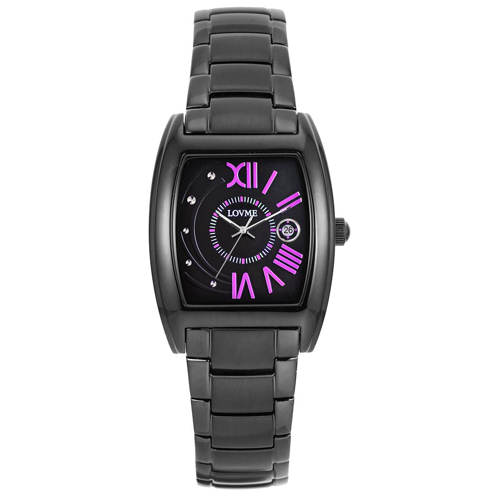 LOVME 月影星辰時尚腕錶-IP黑x神秘紫刻度/26mm