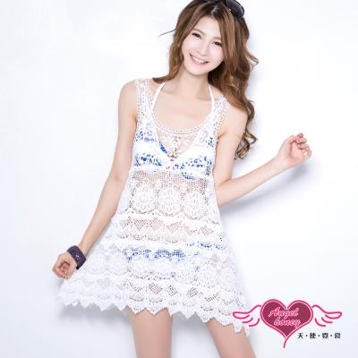 天使霓裳 夏季百搭 長板針織巴洛克背心外搭罩衫(白F)