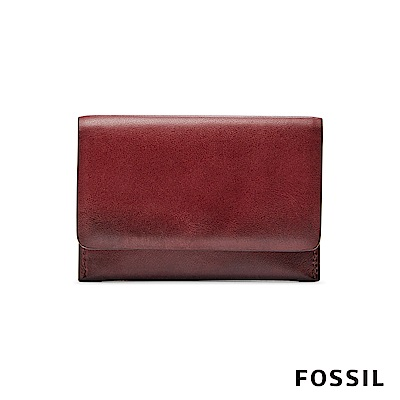 FOSSIL PAUL 名片包 零錢包-暗紅色