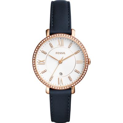 FOSSIL Jacqueline 羅馬魅力晶鑽女錶(ES429)-玫塊金框x藍/36mm