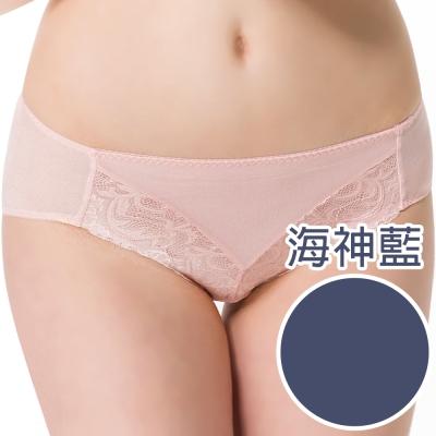 思薇爾 香蔓系列M-XXL蕾絲中腰三角內褲-海神藍