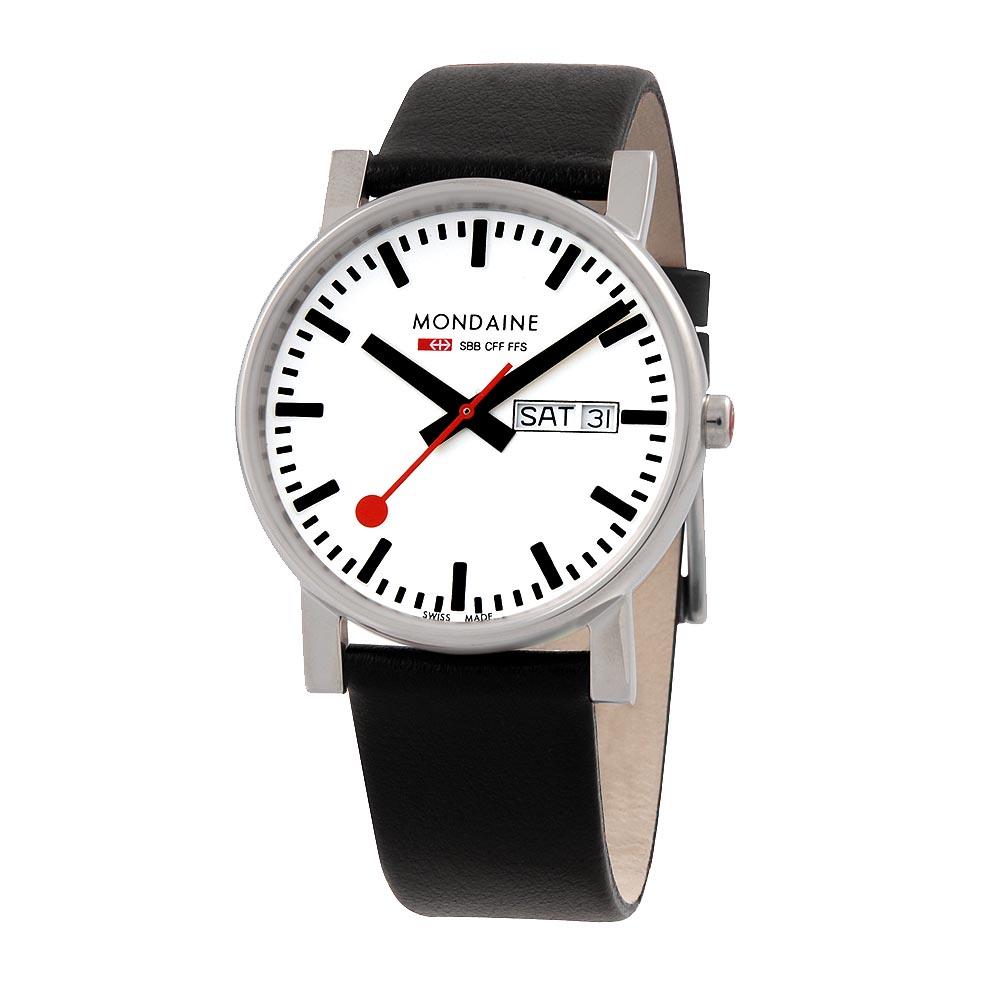 MONDAINE 瑞士國鐵經典Day-Date 視窗腕錶-白/38mm