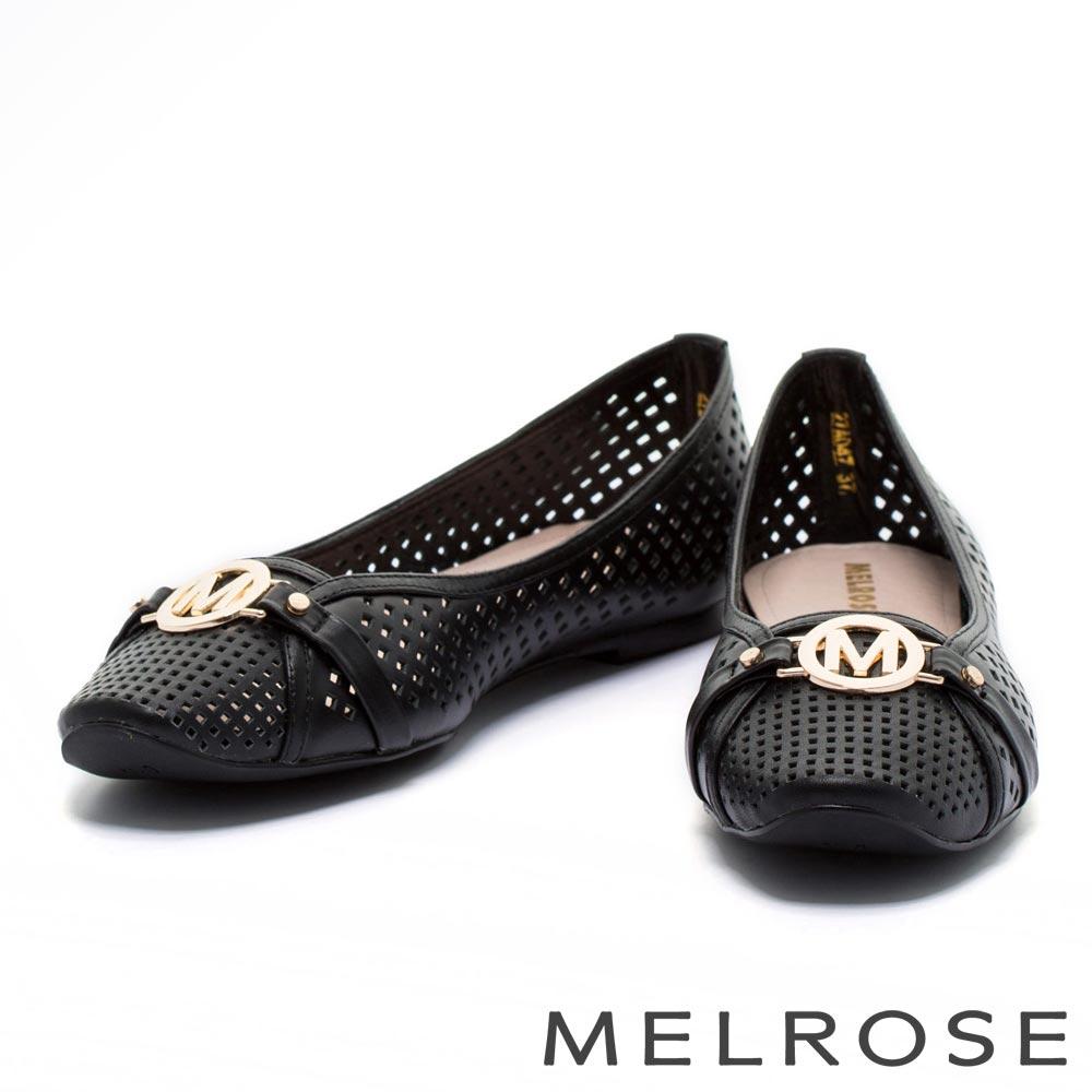 娃娃鞋 MELROSE 經典金屬圓飾沖孔全真皮娃娃鞋-黑
