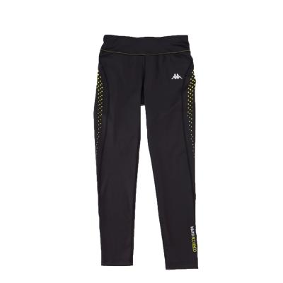 KAPPA義大利舒適時尚女吸溼排汗針織慢跑緊身褲(合身尺寸)黑-岩草綠