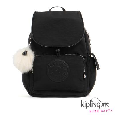 Kipling-後背包-極致沉穩黑素面