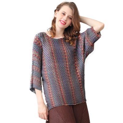 時尚編織紋圓領長袖壓摺上衣-玩美衣櫃