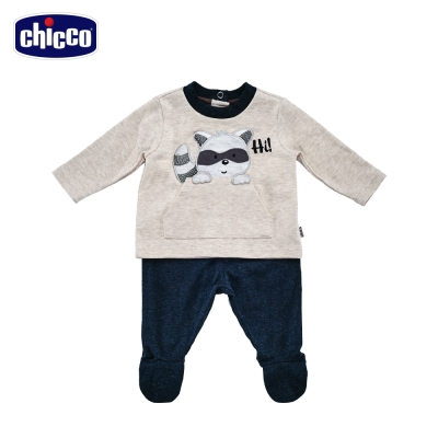 chicco小浣熊長袖套裝-青 (3個月-12個月)