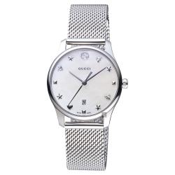 GUCCI古馳 G-Timeless 超薄米蘭帶女錶-珍珠貝x29mm