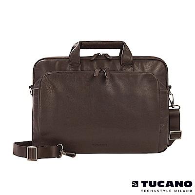 TUCANO One Premium Slim 義大利真皮商務側背包-咖啡