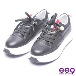 ee9-率性焦點青春熱力百搭真皮綁帶厚底休閒鞋-黑色