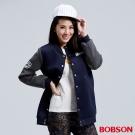 BOBSON 女款太空布長版棒球外套-藍色
