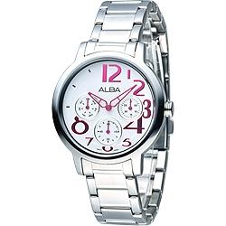 ALBA 玩美時尚全日曆女錶(AP6049X1)-白/36mm