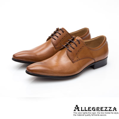 ALLEGREZZA-真皮男鞋-品味出眾-素雅綁帶尖頭皮鞋  焦糖色