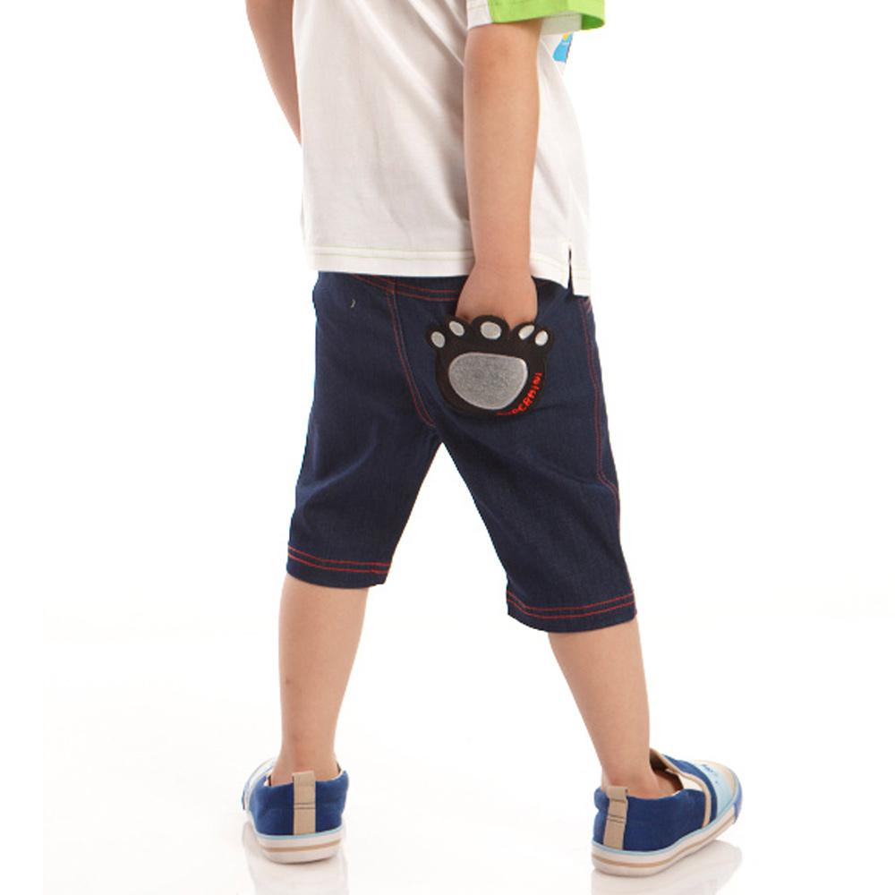 愛的世界 SUPERMINI 鬆緊帶黑熊牛仔短褲/6~12歲