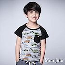 Mini Jule 童裝-上衣 彩繪星星車子單口袋棒球T(黑)