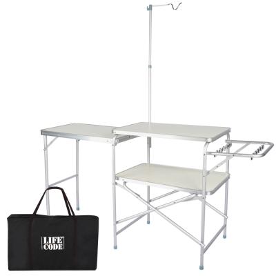LIFECODE 鋁合金折疊野餐料理桌(附燈架+送揹袋)