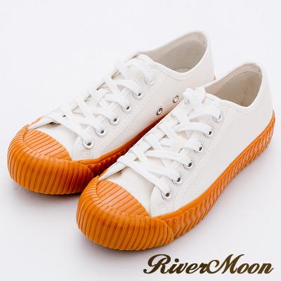 River&Moon休閒鞋-韓版繫帶厚底帆布餅乾鞋-焦糖底白