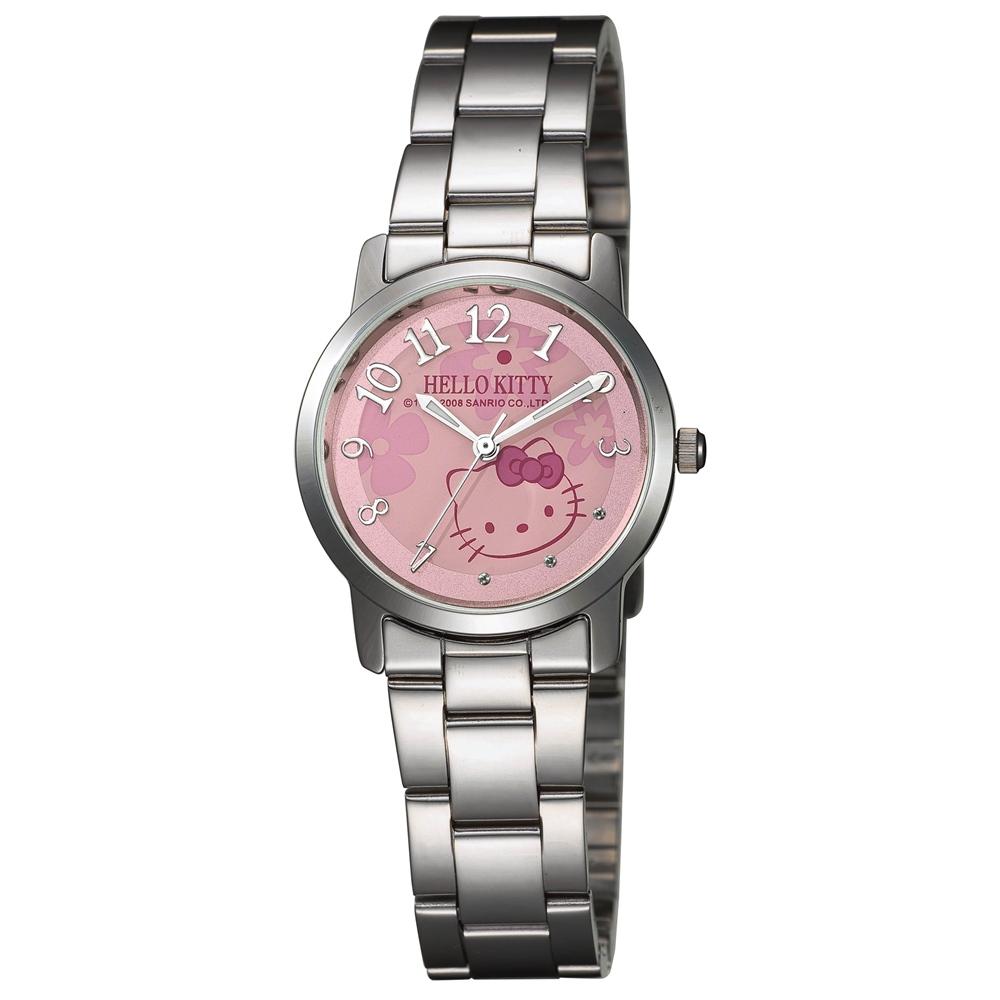 HELLO KITTY 凱蒂貓俏皮小花時尚腕錶-粉紅色/30mm