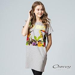 OUWEY歐薇 休閒度假印花長版上衣(灰)