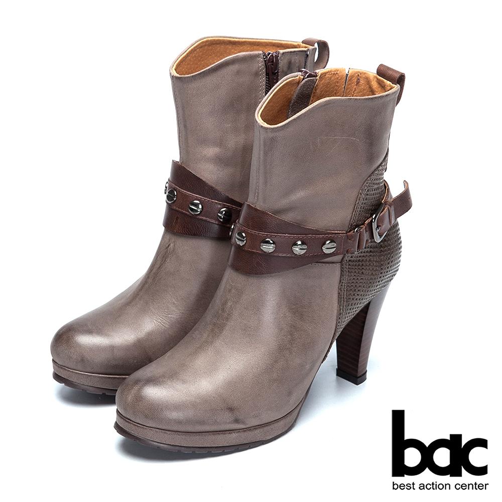 bac歐風時尚 異材拼接鉚釘高跟短靴-灰