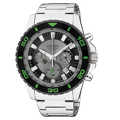 CITIZEN星辰 超越巔峰視距儀三眼石英腕錶 (AN8030-58G)- 灰/43mm
