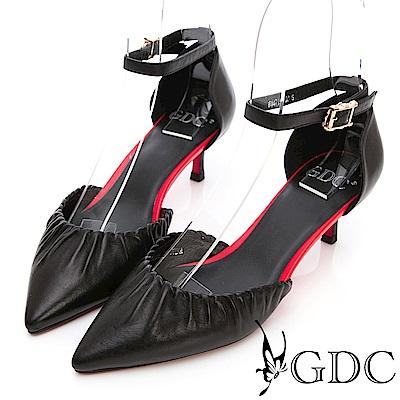 GDC-真皮時尚抓皺尖頭低跟涼鞋-黑色