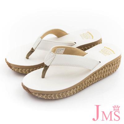 JMS-超舒適素面編織麻底夾腳海灘拖-白色