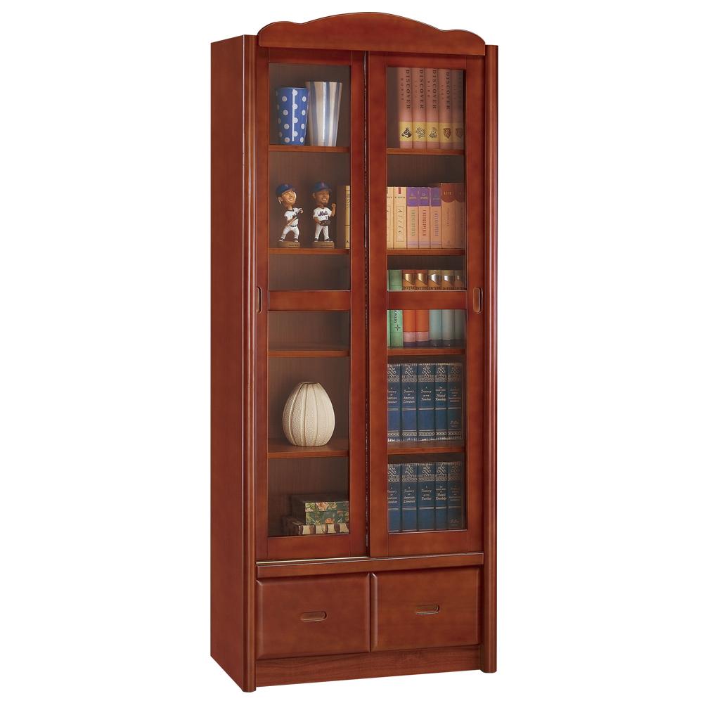 時尚屋 楓原柚木色2.7尺推門書櫃 寬81cm