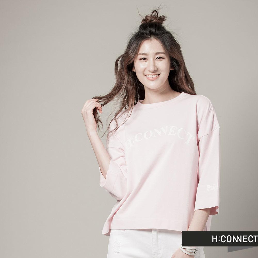 H:CONNECT 韓國品牌女裝 - CONNECT防曬UV七分袖棉T - 粉
