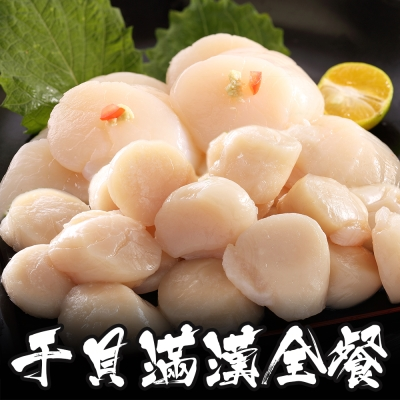 海鮮王 干貝滿漢全餐*1套組(北海道干貝500g*1+野生大干貝500g*1)