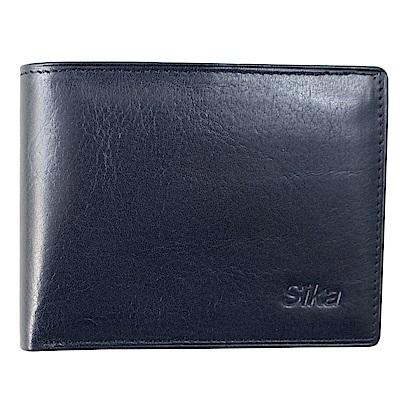SIKA義大利素面牛皮短皮夾A8272-06清玉藍