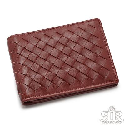 2R-細呢鬆軟-羊皮編織名片信用卡夾-酒漾紅