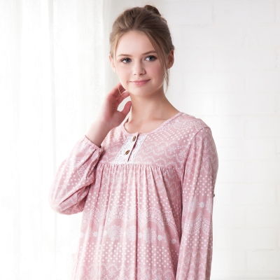 羅絲美睡衣 - 奇異花火長袖洋裝睡衣(粉紅色)