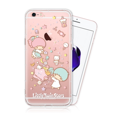 KIKILALA 雙子星 iPhone 6s plus 彩繪空壓手機鑽殼-麵包款